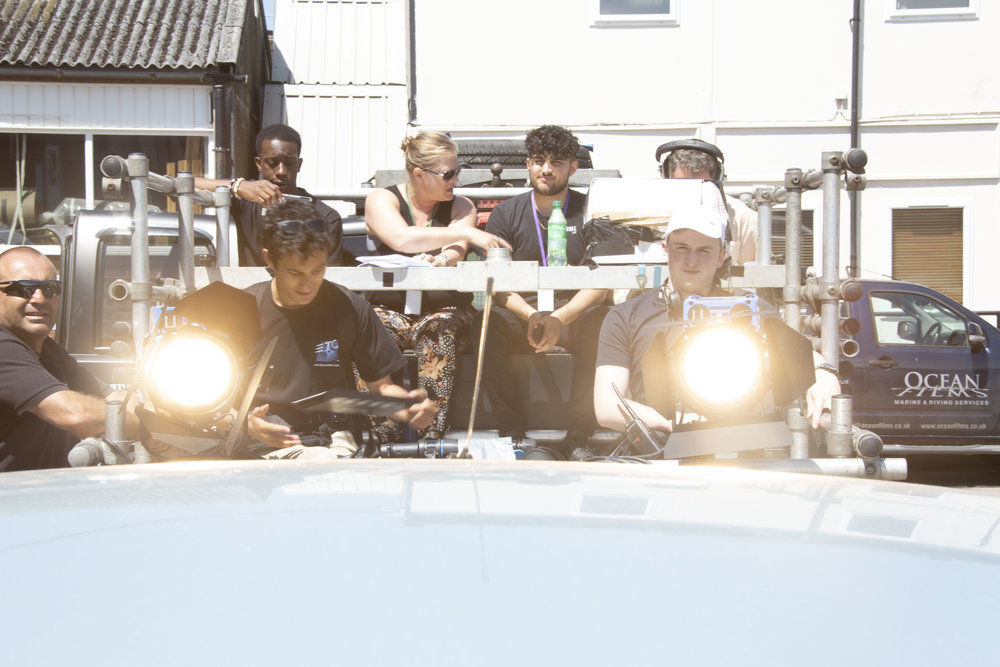 Student filmmakers hard at work on shoot in Hitchin