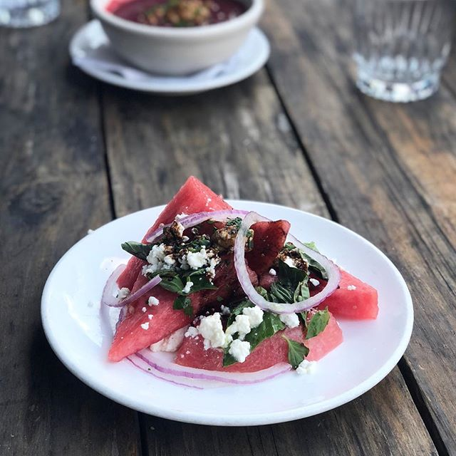 Chef Martin's Watermelon & Feta Salad with Basil, Red Onion, & Balsamic Drizzle 🍉😛 #dangthatsnice . . . . . . . . . . . . #watermelon #feta #onion #balsamic #foodinmyface #getiton #patiofood #patioparty #chef #love #foodie #theautomatic02139 #autooutdoorbar #lovewhatyoudo
