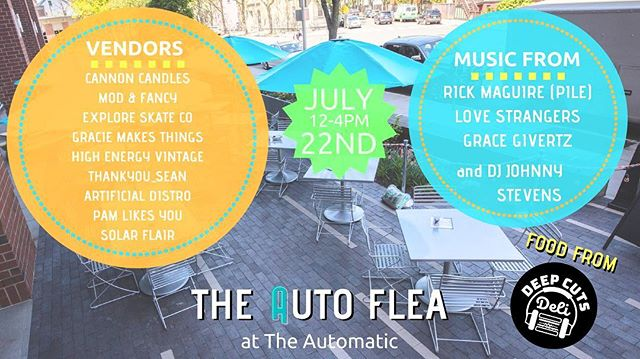 🎈AUTO FLEA 7/22🎈🗓Mark your calendars! 🗓POP-UP SANDOS FROM🥪 @deepcutsdeli ! . . . Music from @pilemusic, @_love_strangers_ @gracegivertz @jhnystvns , with a great line up of artists and vendors! . . . 🍭 @cannoncandles @modandfancy @wegoexplore @graciemakesthings @pamlikesyou @thankyou_sean @artificialdistro @solarflairshop . . . . . . . . . . #cambridge #local #shoplocal #patio #outside #music #localband #bostonbands #bostonartist #candles #art #makersgonnamake