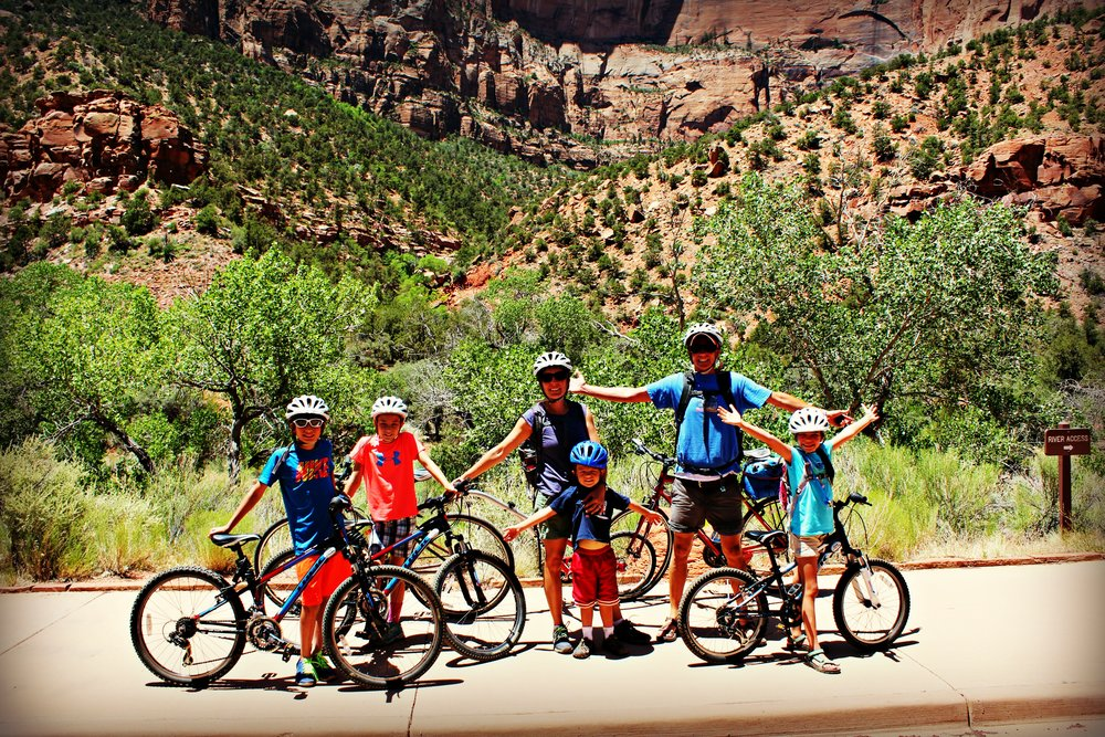 Zion National Park is fantastic place for a family vacation.So many things to do: biking, hiking the Narrows thru the Virgin River, exploring the town of Springdale, Utah, and so much more!