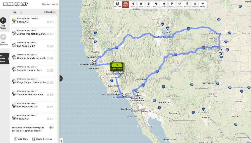 CALIFORNIA ROAD TRIP ROUTE courtesy mapquest.com