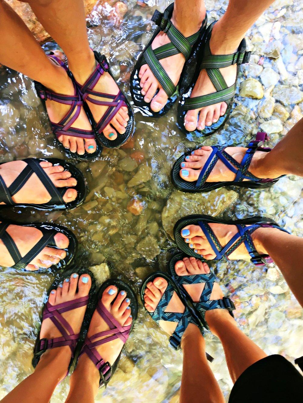 Wear chacos water sandals hiking Kanarraville Falls Utah