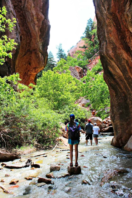 Kanarraville Falls hiking thru creek southern Utah
