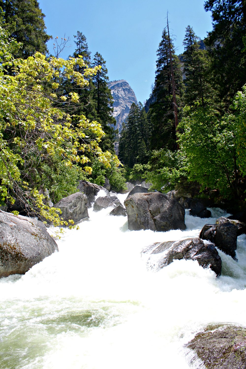 hiking Yosemite Mist Trail with kids Merced River