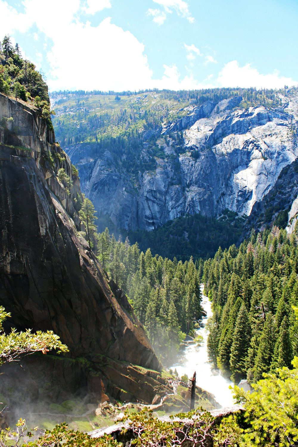 view from John Muir trail after Vernal Fall Yosemite