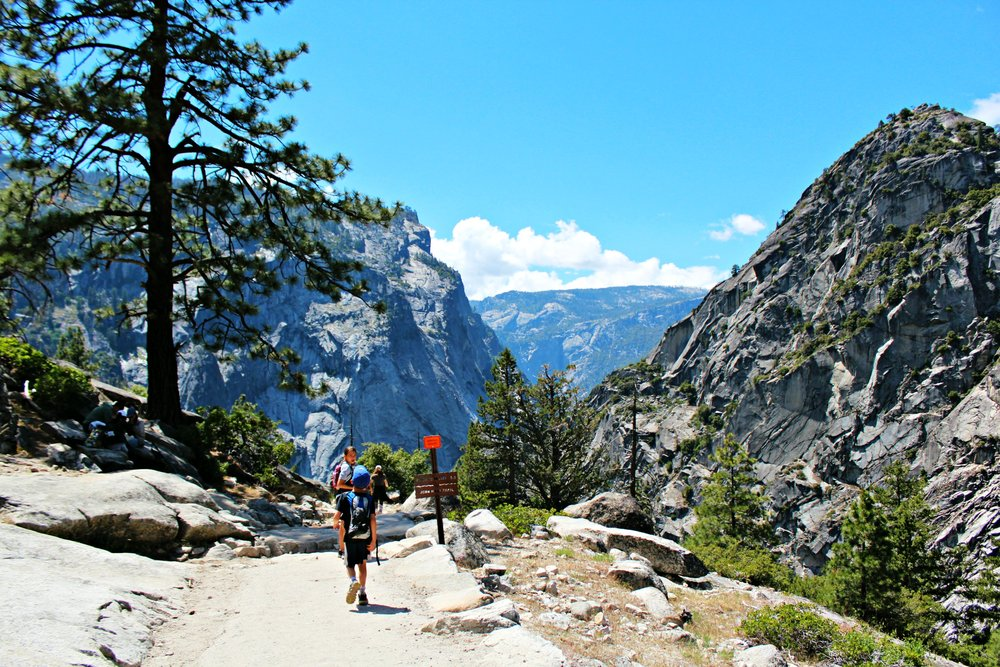 hiking with kids Yosemite John Muir Trail after Mist Trail to Vernal Fall