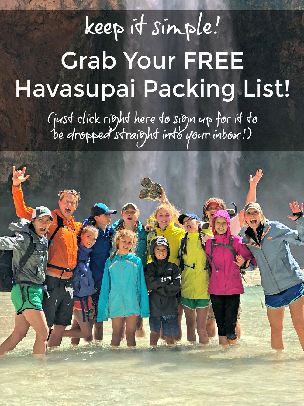 Free Havasupai packing camping list
