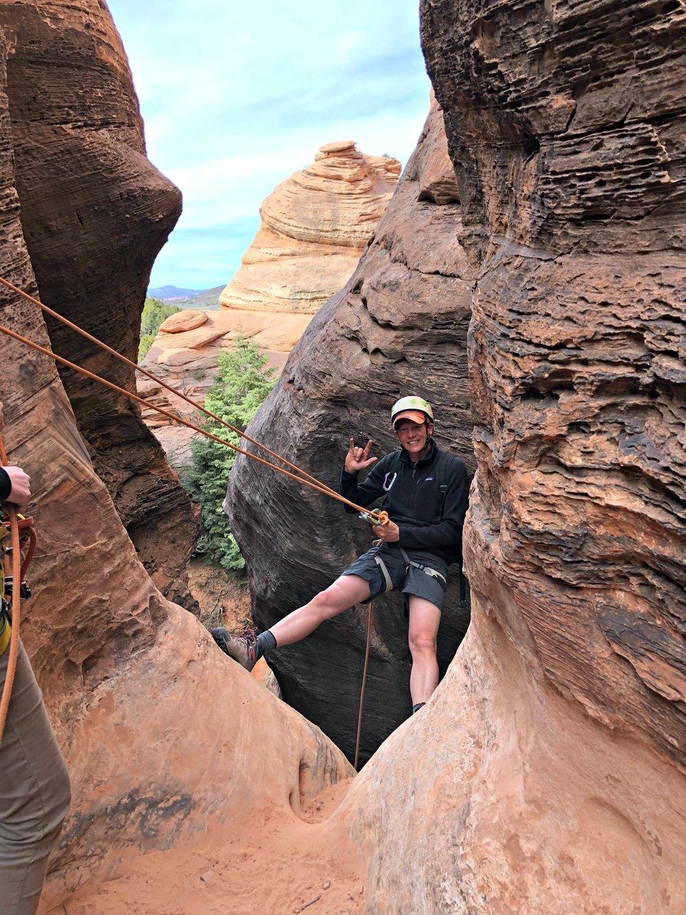 dad-rappelling-slot-canyon-kolob-near-zion