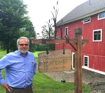 Mark in front of the Golden Foundation Artist Residence barn.