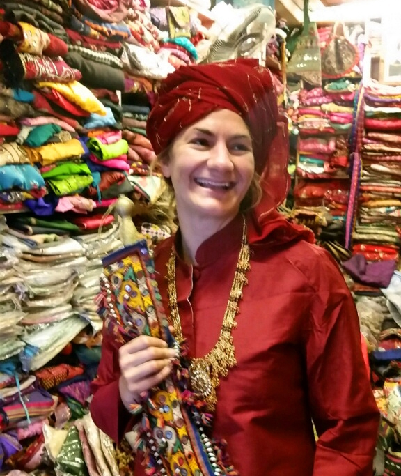 Finding fabric in India.