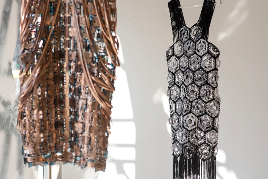 Jane Bowler, Woven Copper Dress, Plastic Crochet Dress