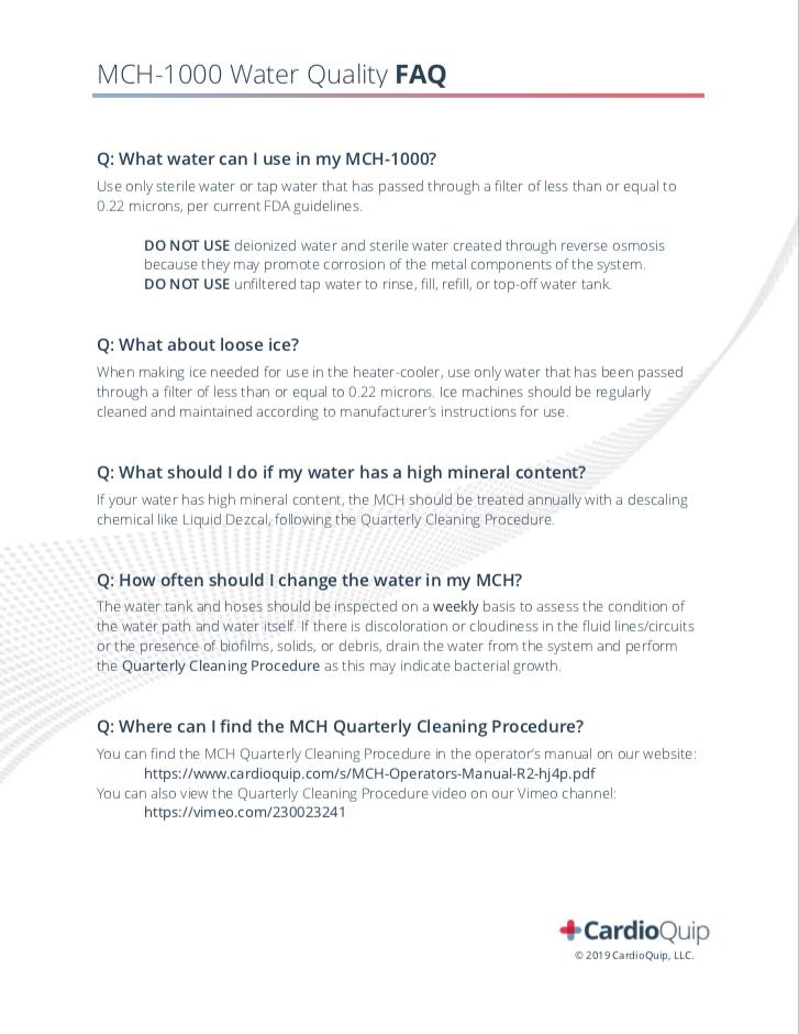 MCH Water Quality FAQ