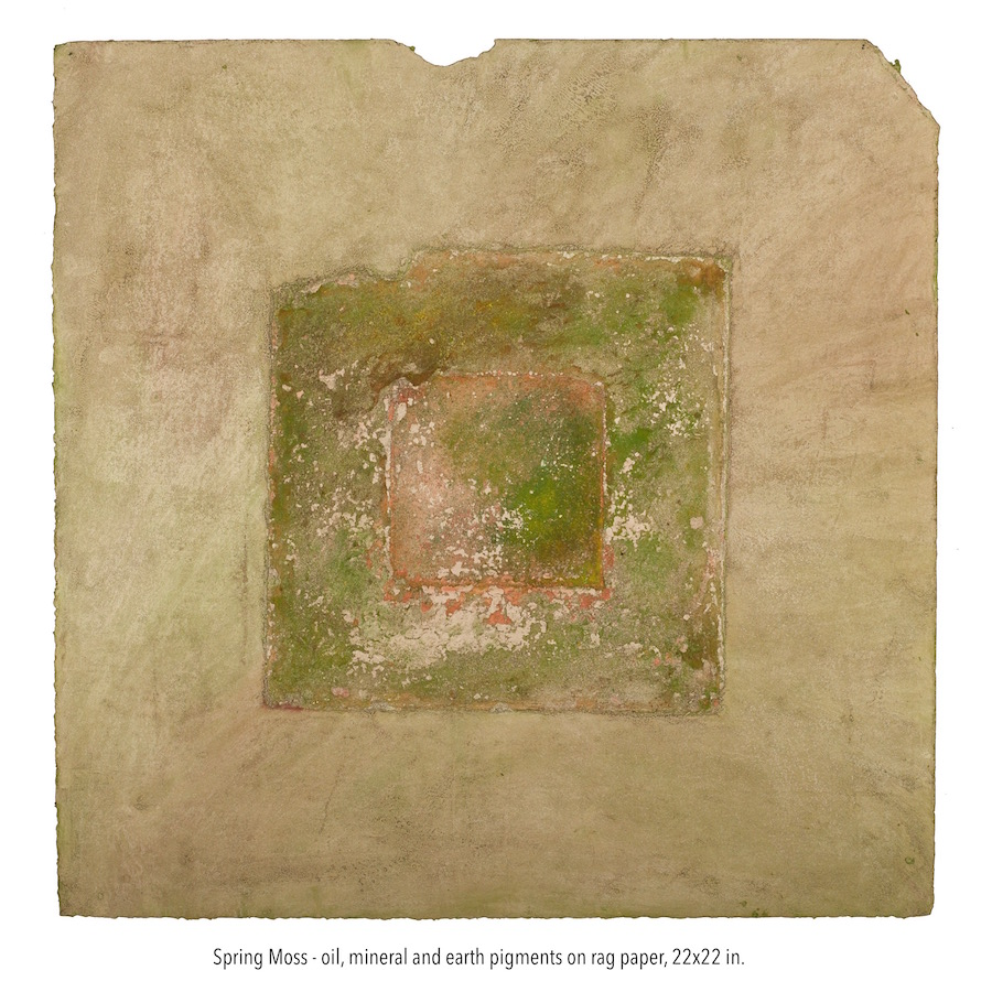 Spring Moss 222, oil, earth  and gold pigments on rag paper, 22x22 in. (1).jpg