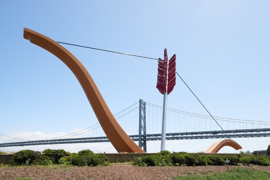 "Claes Oldenburg's ""Cupid's Span"" on the SF Embarcadero. Photo credit: Dean J. Birinyi"