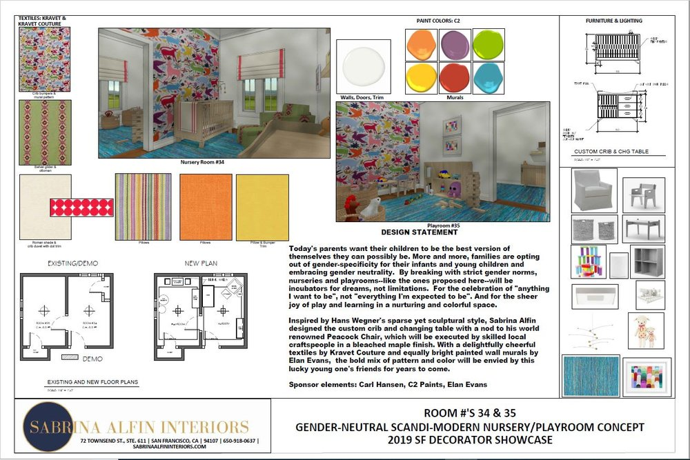 Digital board for gender-neutral nursery.  Overall design and custom furniture design by Sabrina Alfin Interiors.