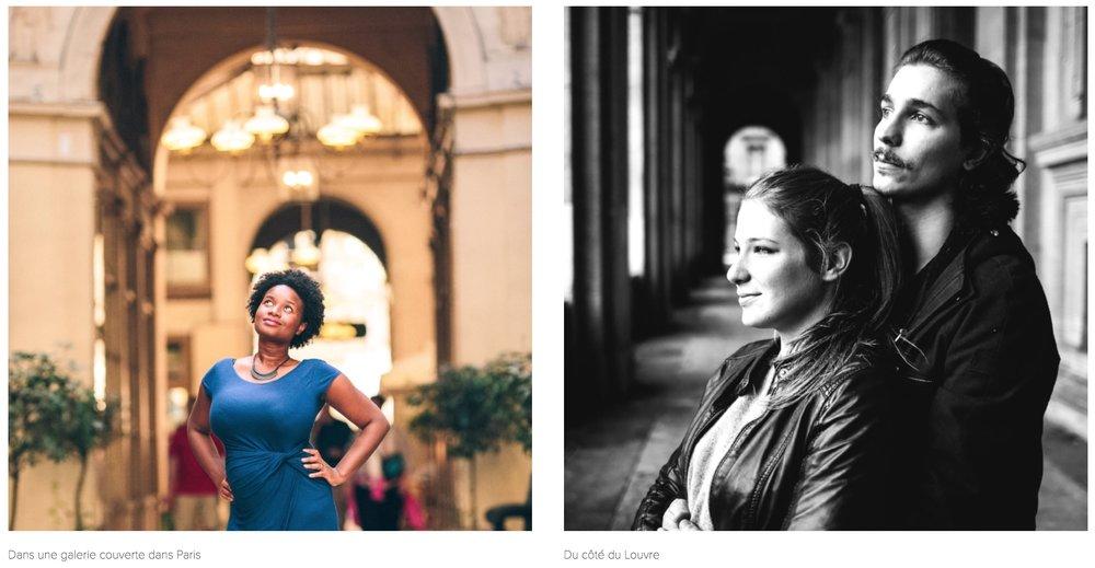 - Votre photographe privilégiera toujours des passages couverts : du Palais Royal aux galeries parisiennes en passant par les arcades du Louvres, vous n'avez que l'embarras du choix avec en prime des décors sublimes et pleins de caractère.