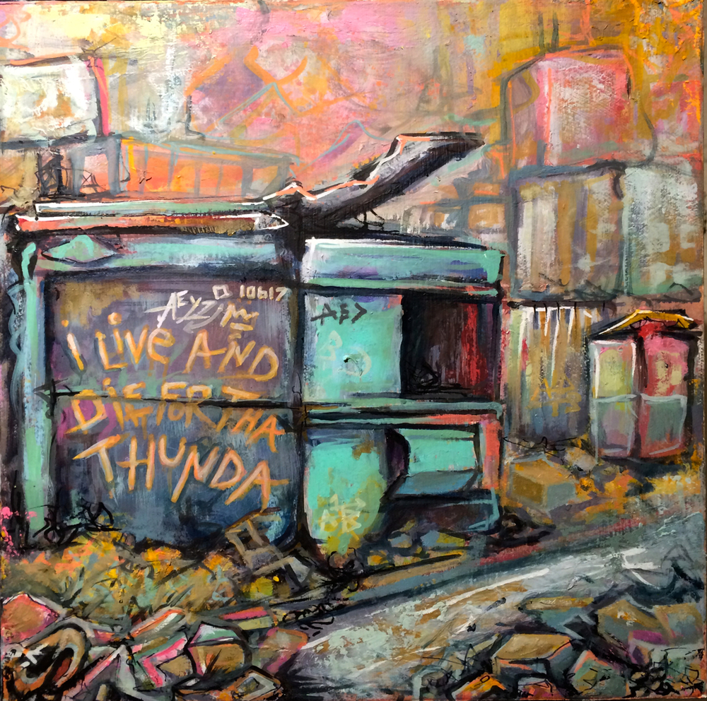 %22Live and Die for the Thunda%22. 2014. Oil on Panel. 14%22x14%22.jpg