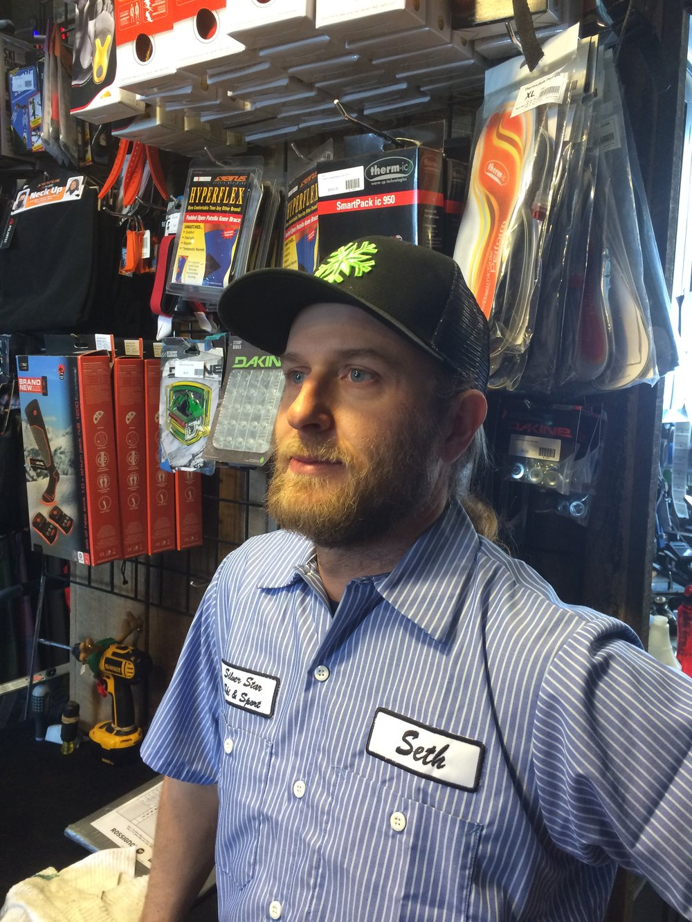 Seth - Rental Technician - Seth has been with the shop since fall 2014. He is originally from New Hampshire and is the best snowboarder in the shop, maybe even the best in the country!