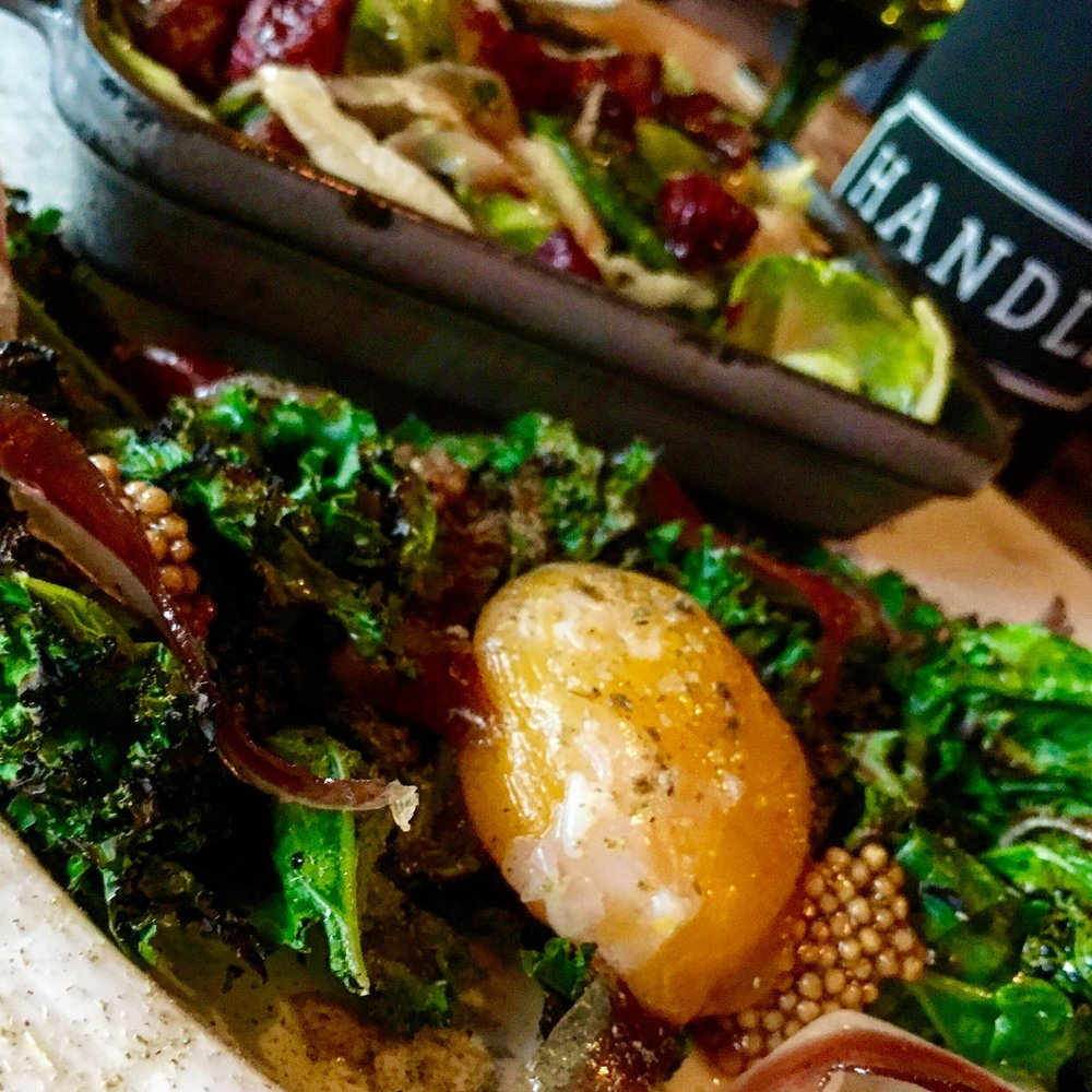 A few small plates from Handle, Kale salad and brussel sprouts.
