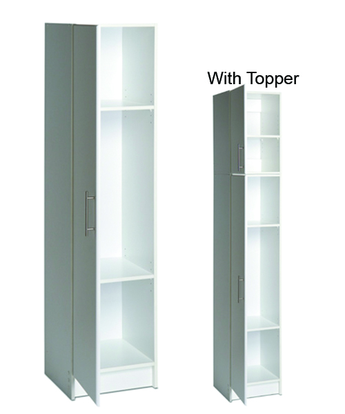 "16"" Broom Cabinet  - 2 Adjustable shelves - No fixed center shelf facilitates storing brooms and other tall items. - Use alone or with 16"" topper 16""w x 65""h x 16""d 78 lbs"