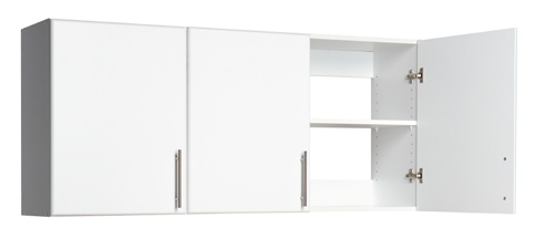 "54"" Wall Cabinet  - Ideal width to fit above a standard washer and dryer - Includes 2 adjustable shelves - Attach doors to open to the left or to the right 54""w x 24""h x 12""d 84 lbs"