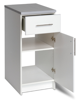 "16"" Base Cabinet  - 20 inch long heavy duty drawer with ½"" thick bottom, metal sides and rolls on smooth roller glides - Door can open left or right - 1 adjsutable shelf - Includes gray worktop 16""w x 36""h x 24""d 80.5 lbs"