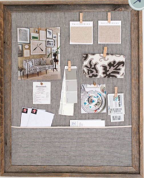 "Can you see the pocket that was created?  I think this gives a little cleaner look that I like!  You can  click on this image  and be linked to the post that has the instructions on ""Driven by Decor"" by Kris.  She used a cork bulletin board instead of buying a picture frame, so she only had to cover the cork with the fabric of her choice, saving a few steps."