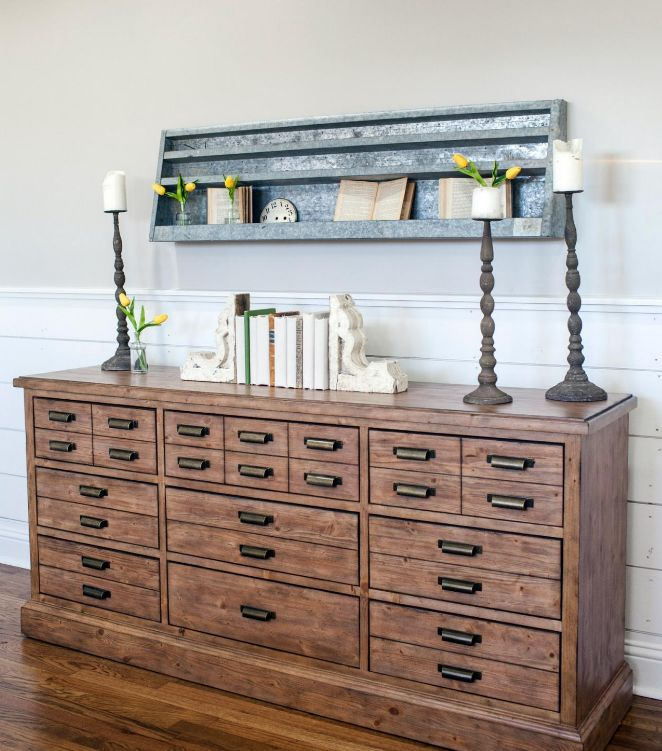 Antiques, staged open shelves, industrial elements via  HGTV