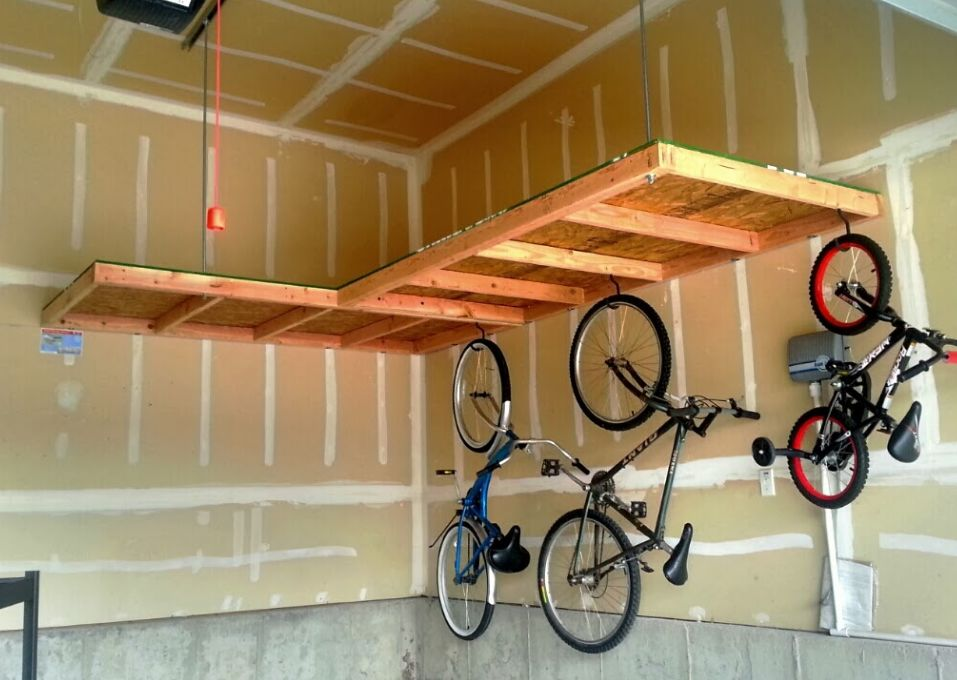 Budget Overhead Storage in wood with an open underside