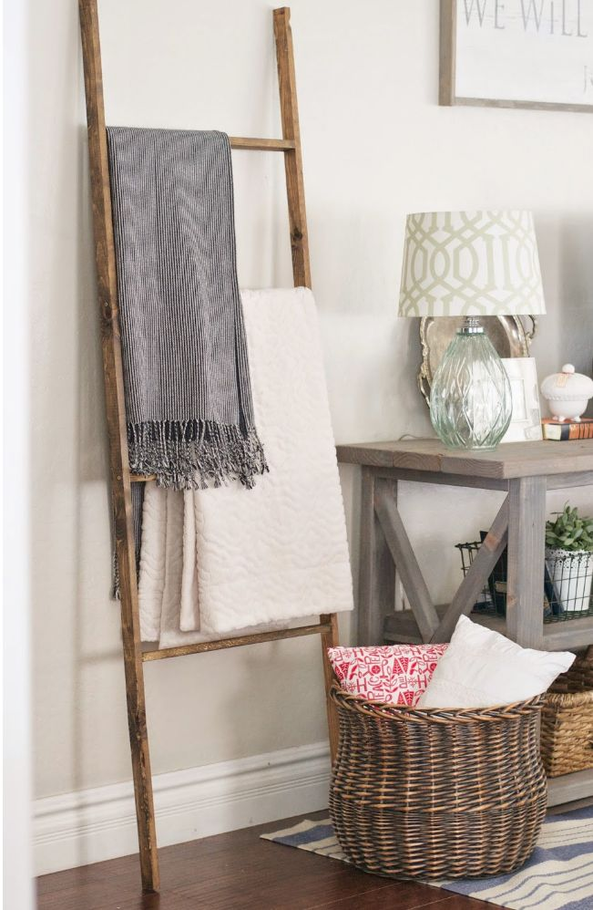 Ladders leaning against a wall for blankets  via   ana-white  with tutorials included