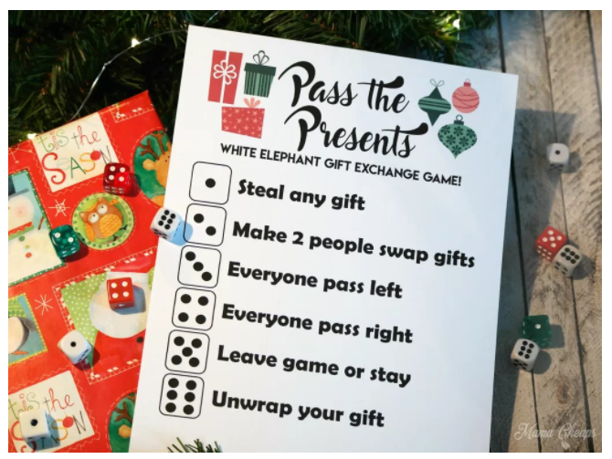 Christmas Gift Exchange Dice Game Printable.Games For Christmas Create Home Storage