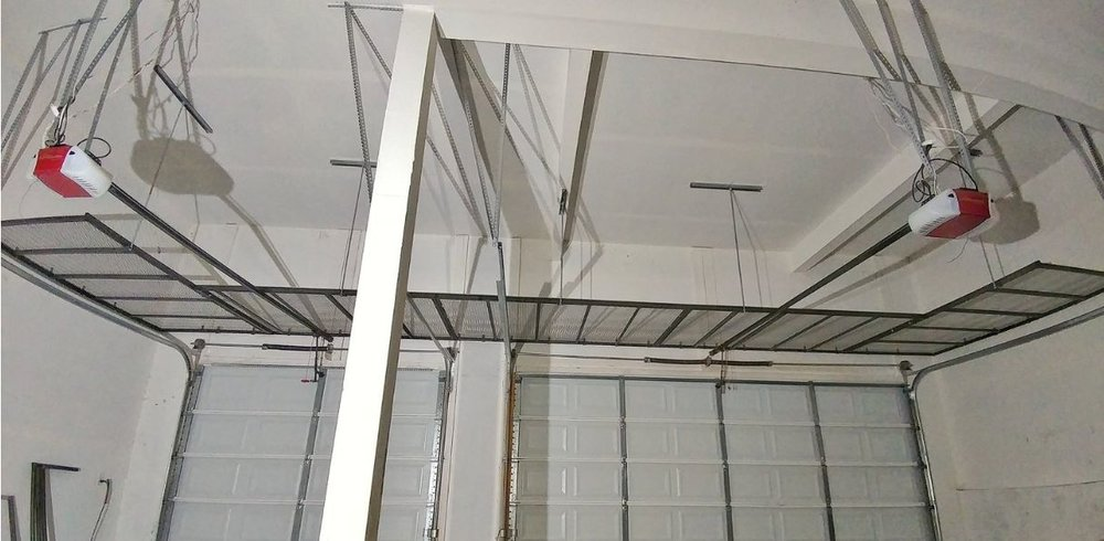 Industrial steel frame with steel mesh top -