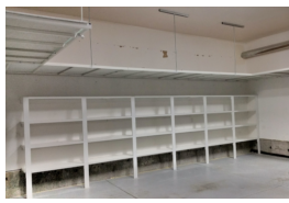Utility shelving  under overhead storage