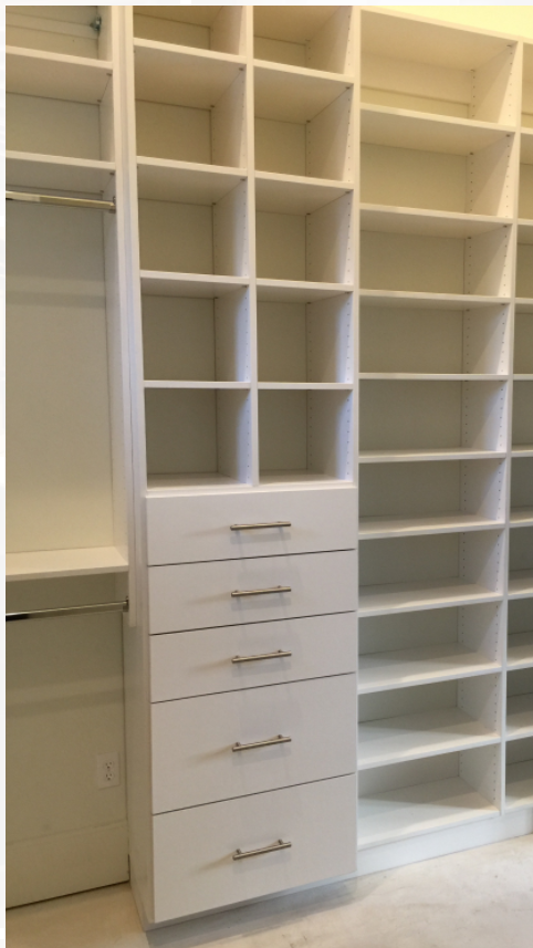 There are no restraints in how your closets can be designed. They are designed to fit your needs exactly! Shelves can be cubby holes for baskets. They can be sized to fit the style of shoes you wear. The rods can be placed at the heights you need. Custom design changes everything about your closet space, the amount you are able to fit in, and how you are able to use it.