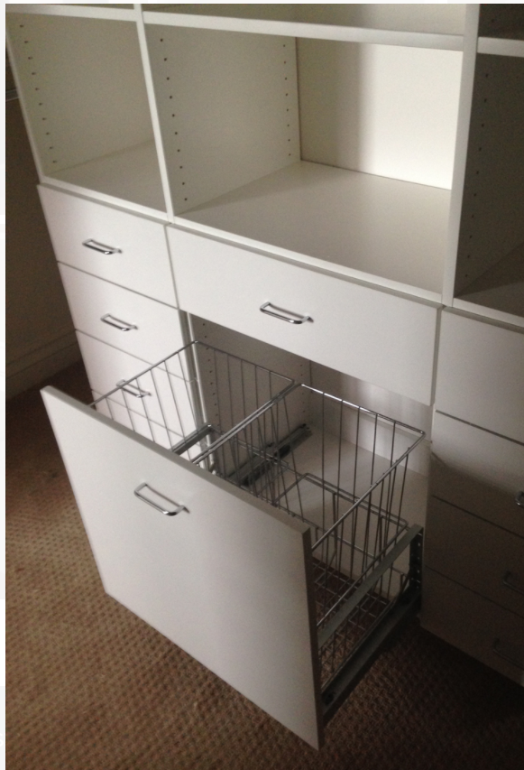 or have the baskets pull out like a drawer with a handle!