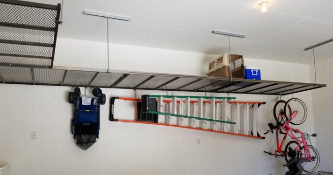 We offer  overhead storage  for you garage that is constructed of welded steel and can be customized to any configuration you need.