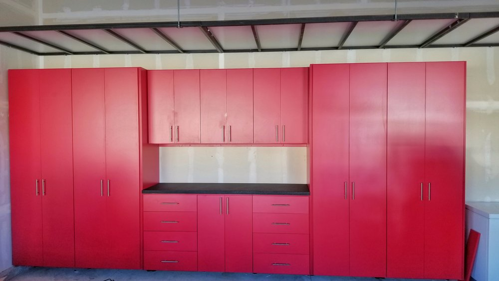 red garage cabinet W overhead