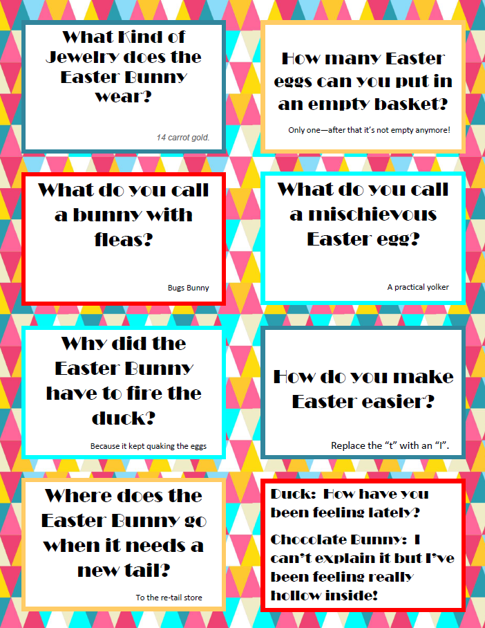 Page 2 of the Easter jokes are  HERE .
