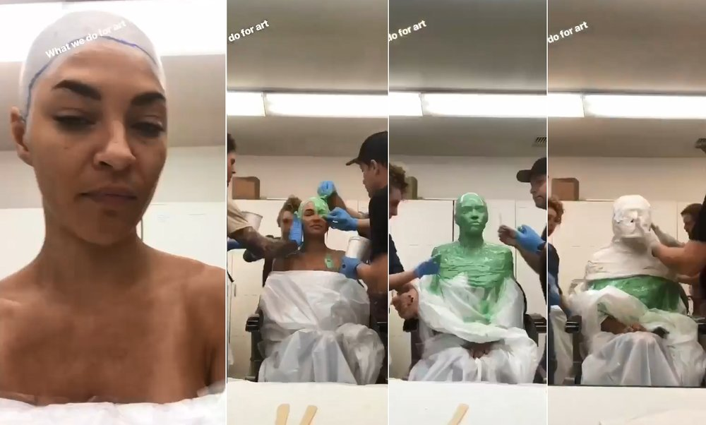 However, thanks to an Instagram Story video, we can see Szohr getting the full green goo lifecast treatment, so the makeup artists can create a custom fit ...