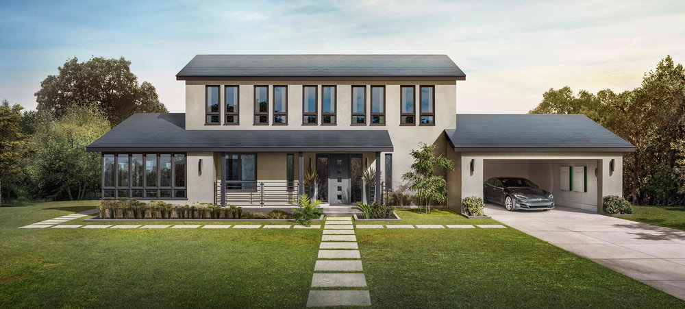 You should buy the Tesla Solar Roof, Model S, and Power Walls. And the Tesla model H when it comes out! (this image is Tesla's, clearly)