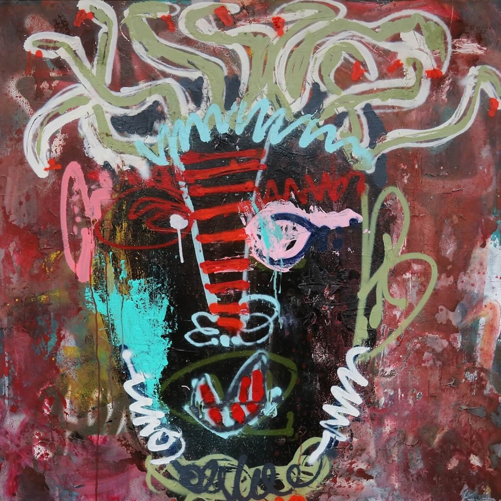 'Bloody Medusa' David Schwarz 100cm x 100cm      Oil on Canvas £1,050 SOLD