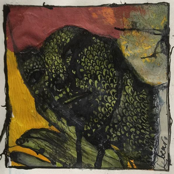 'Lizard Man' Le Bear 10cm x 10cm Mixed Media £225