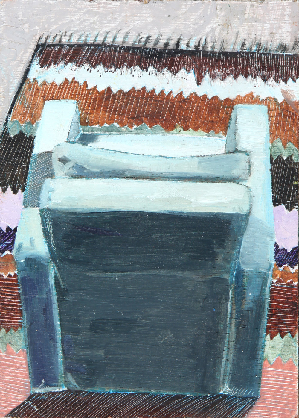 'Chair View'   - 2015  7x 10cm  Oil on Board    Price: £132