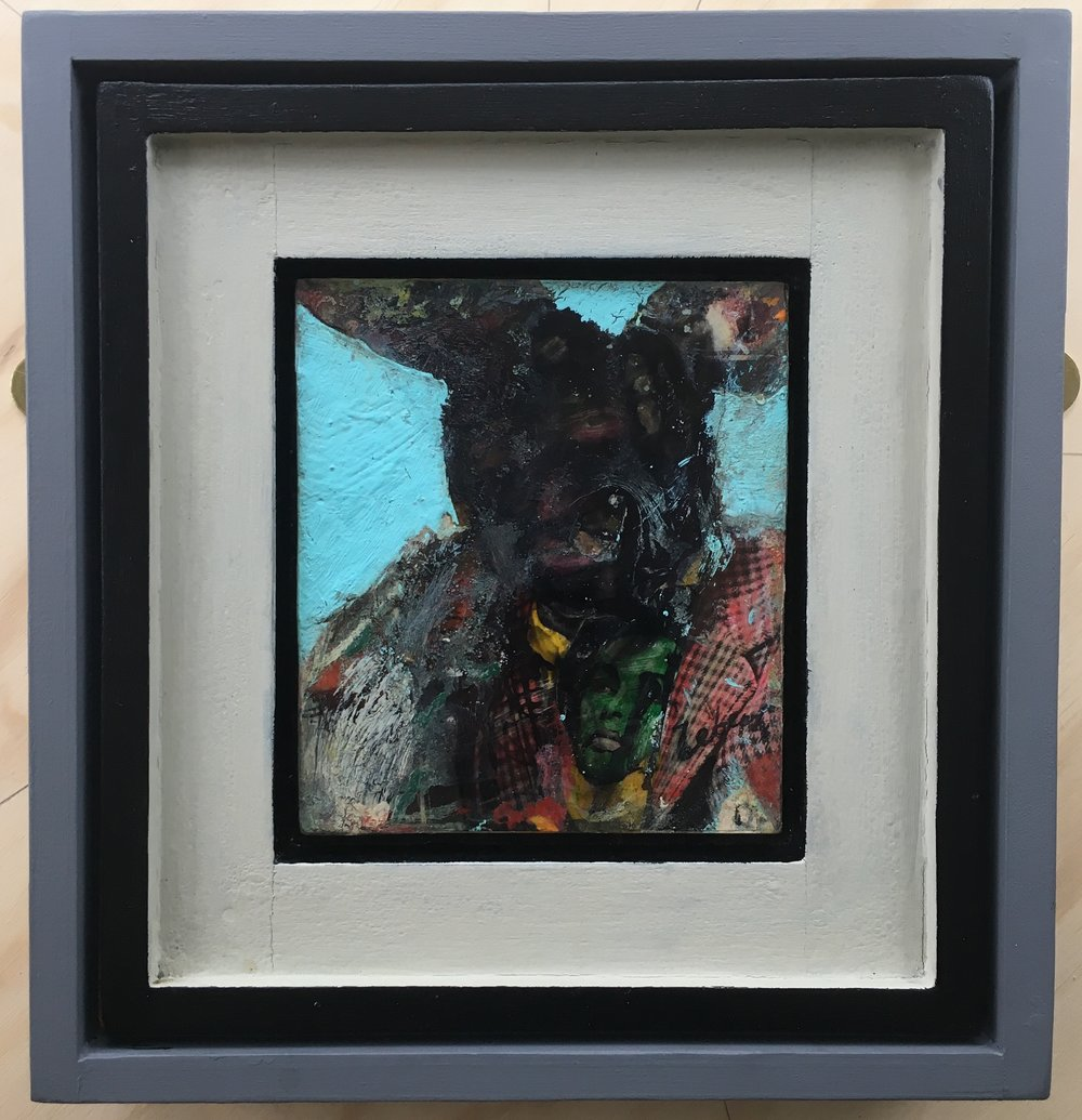 'Rabbit Man'  Framed painting   310x326mm  £400.00