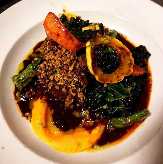 If you look closely,  this mole braised short rib is winking at you with a suggeative allure not oft found these days. Come indulge in a plate of sautéed kale, butternut squash puree, shishito peppers and some sultry short ribs. #shortribsarethebestribs #shortribstallflavor #fridaynightfoods
