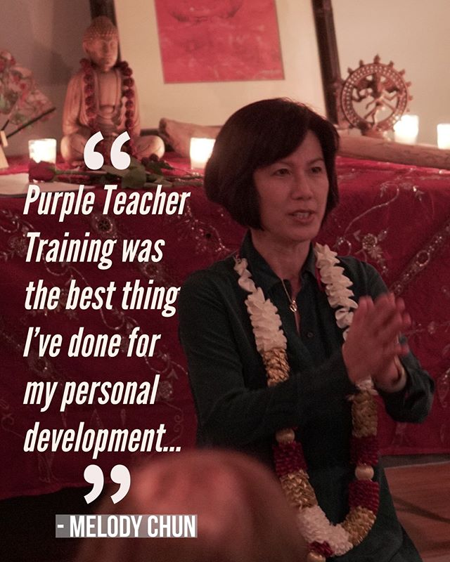 """Purple TT program was the best thing I have done for my self development.  It opened the door to the knowledge and wisdom of yoga beyond the physical practice.  In this journey, I met remarkable teachers, built wonderful friendships with people who practice mindfulness, kindness and love of yoga."" - Recent Purple Alumni Melody Chun  from our 2017 class - Our shortened 10 week Fall 2018 Teacher Training session has been announced. For more info please visit our website at http://www.purpleyoga.org/200-hour-teacher-training/ - Link in bio"