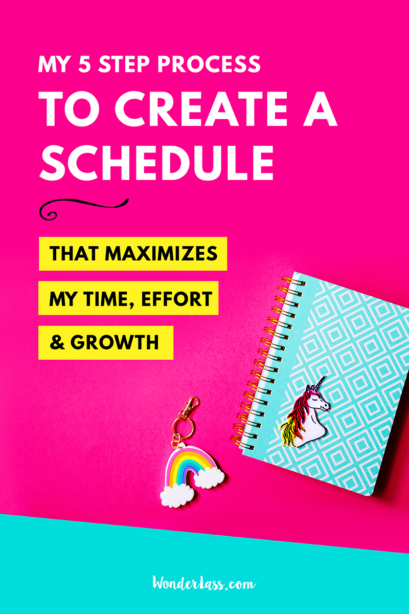 My 5 step process for creating a schedule that maximizes my time, effort and growth | Learn exactly how to ditch overwhelm and get MORE done in LESS time! | Wonderlass