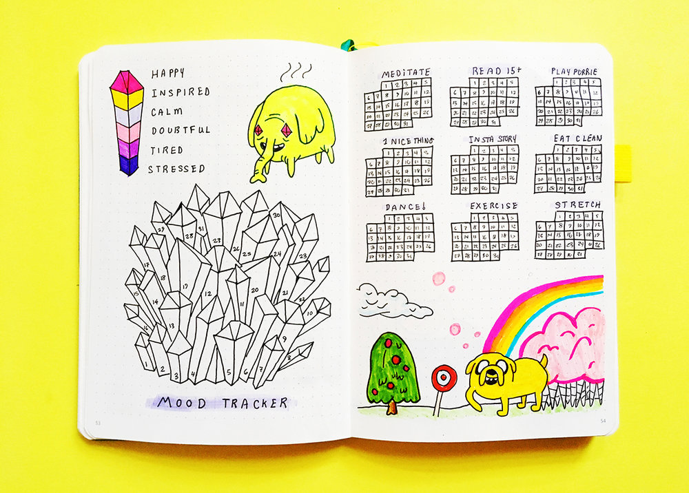 Adventure Time Bullet Journal Theme | Bullet Journal Spread  Check out this fun Adventure Time themed bullet journal spread! Including mood trackers, habit trackers and other bullet journal spread ideas.  #bulletjournaling #bulletjournaljunkies #bulletjournalcollection #bulletjournalweeklylog #planneraddict #planning
