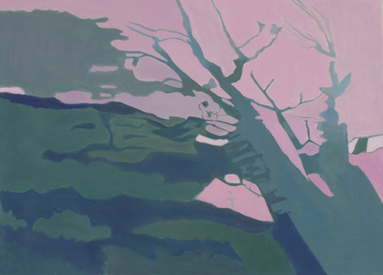"Shadows on the Grass I   , 1998, Oil on Linen, 24"" x 10"""