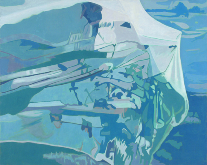 "Blue Net   , 1990, Oil on Linen, 40"" x 50"""